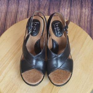 Boc Mika Black Wedge Sandals Size 6